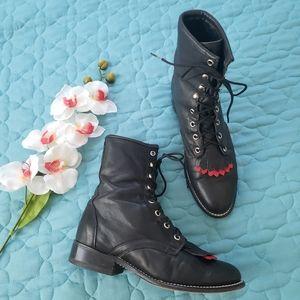 Vintage Laredo 8 Black leather combat/roper boots